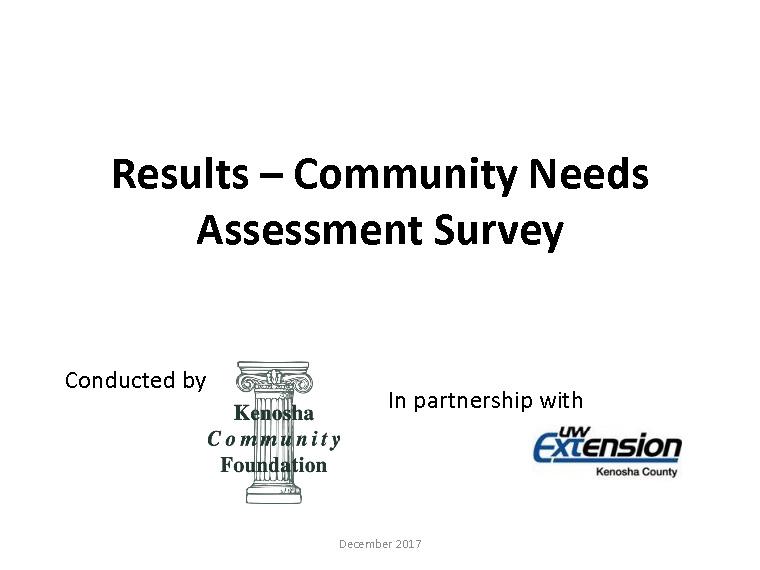 Results  Community Needs Assessment SurveyPage  Kenosha