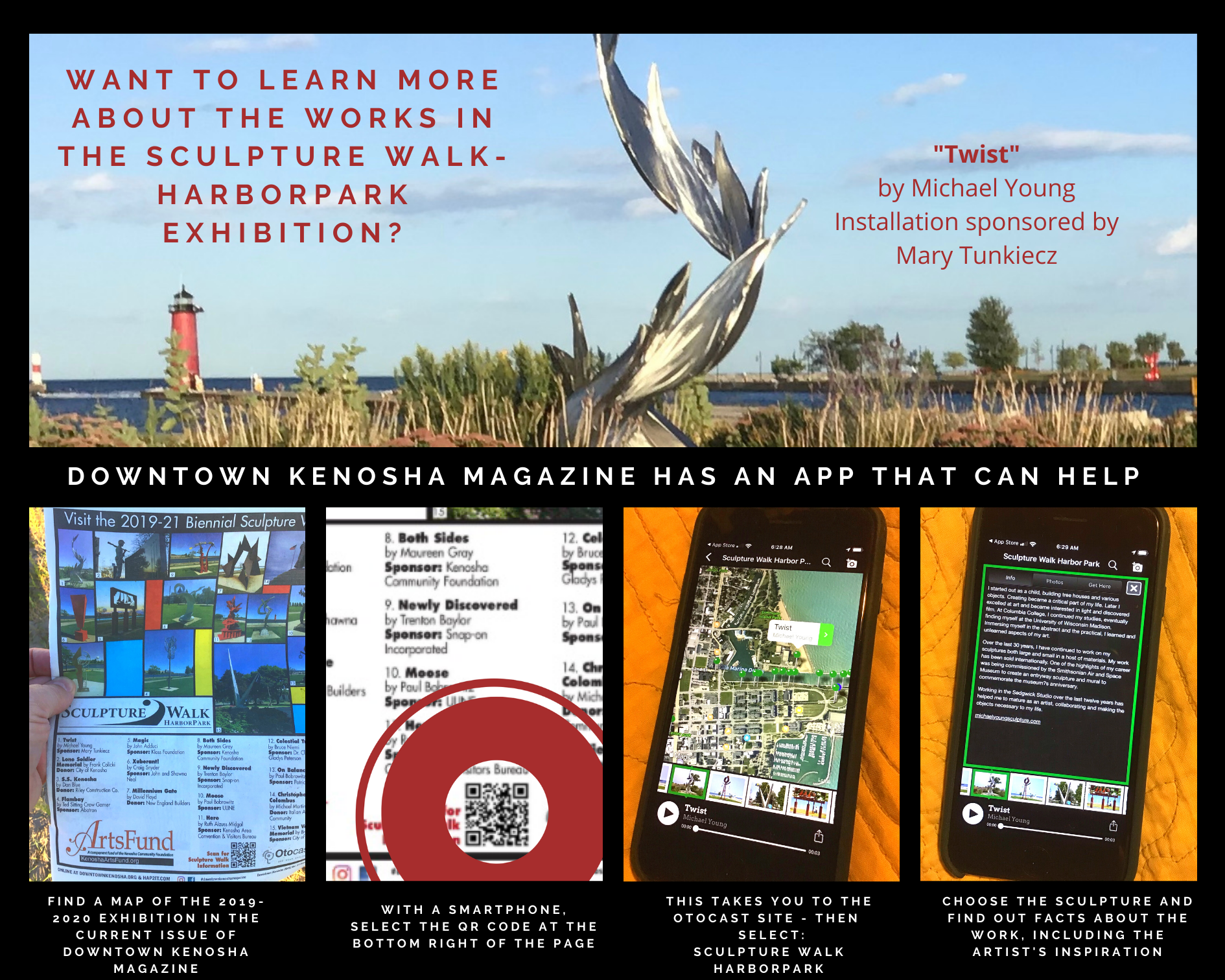 About Sculpture Walk Map and Otocast-App in Downtown Kenosha Magazine
